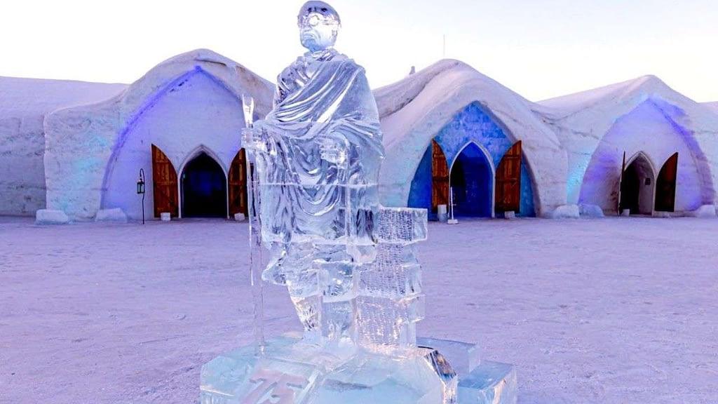 The ice sculpture of Mahatma Gandhi at Hotel de Glace