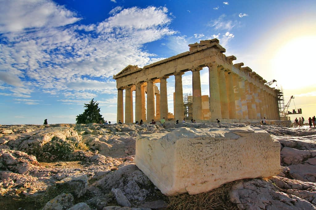 The ancient Parthenon Temple at Athens, Greece