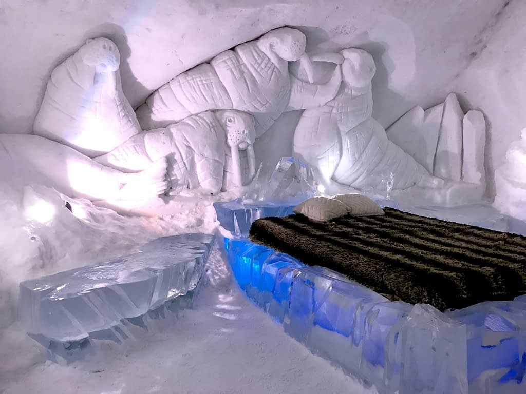 The interiors of a room at the Hotel De Glace